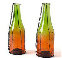 EZ Life Hanging Bottle Candle Stand - 2-Tone - Green & Orange (Pack of 2)