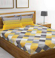 TIGER EXPORTS 144 TC 100% Cotton Double Bedsheet with 2 Pillow Covers - Yellow and Grey, Queen