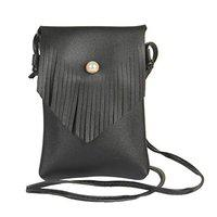 STRIPES Black color Pearl Button lock with Tassel Cross Body Sling Bag for Women/Girls