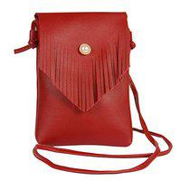 STRIPES Red color Pearl Button lock with Tassel Cross Body Sling Bag for Women/Girls