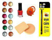 Vozwa Face and Eye Shadow Shimmer Powder, Sparkles Nail Art Glitter Powder, Nail paint, Eye Care Kajal, Cosmetic Foundation Powder Puff Sponge and Hair Band - Combo of 16(voz_1009)