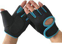 serveuttam Men's and Women's Leather Weight Lifting Gloves for Gym Workout, Weightlifting, Fitness and Cross Training (Blue)