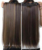 Foreign Holics Women's Japanese Heat-Resisting Kanekalon Fiber Straight Hair Extension with 5 Clips (Brown Golden Highlighter, 24 Inch)