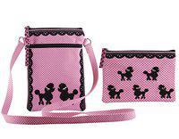 Pinaken Women's Poodle Pop Crossbody Sling Bag and Coin Pouch Purse
