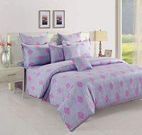 Swayam 180 TC Motifs Print Cotton Single Bed Sheet with 1 Pillow Cover (13004-SBS)- Purple