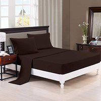 Trance Home Linen Cotton 400 TC Fitted Bedsheet (Chocolate Brown, Single - 78x36 )
