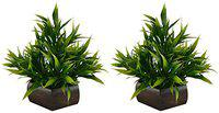 Planters Artificial Bamboo Leaves Plant with Wooden Pot (Green, 2 Pieces)
