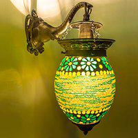 DEVBEADS Green Bead Work Glass Globe Decorative Elephant Bracket Wall Lamp 19cm
