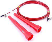 Fitguru Jump Skipping Rope for Men, Women, Adult & Children Use For Weight Loss, Kids, Girls, Children, Adult - Best in Fitness, Sports, Exercise, Workout with Handle Available ,, Best Quality Ropes (Multiple 8 Colors available) (Red)
