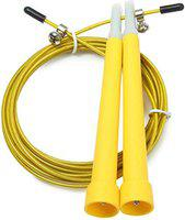 FITGURU Sports, Exercise, Workout Weight Loss Jump Skipping Rope with Handle for Men, Women, Adult and Children Use (Yellow)