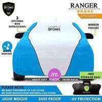 TPH Covers Ranger All Weather Proof Custom Fit Piping Car Cover for Hyundai I20 Elite (Blue-White)