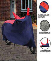 TGP GROUP Water Resistant Bike Body Cover for Suzuki Burgman Street with Mirror Pocket (Navy Blue, Red)