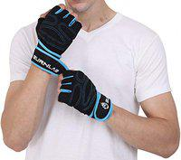 Burnlab Gym Gloves with Wrist Support (Blue, Small)