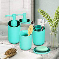 Story@Home Bathroom Accessories Set (4 Piece) with Toothbrush Holder, Liquid Bottle Dispenser, Soap Dish and Tumbler (PVC), Light Turquise