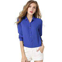 DALUCI Women's Blouse Loose Long Sleeve Chiffon Casual Blouse Shirt Tops&Blouse (Blue, Medium)