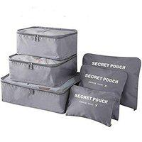 Everbuy Set of 6 Packing Cubes Travel Organizer Pouches (Grey)