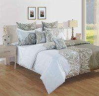 SWAYAM Cotton 144 TC Ethinic Print Bed in a Bag Set of 4- White, Grey
