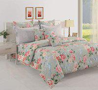 SWAYAM Cotton 160 TC Floral Print Bed in a Bag Set of 4- Grey, Peach