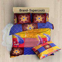 New panipat textile zone Polycotton 160 TC Bedsheet (Queen_Multicolour)