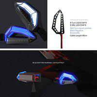 Ezip 4PC Universal Motorcycle 18 LED Amber Turn Signal Blue DRL Indicator Light Lamp for Bikes & Scooters