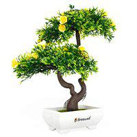 Breewell Mini Artificial Yellow Roses Bonsai Flowers with Pot and Bonsai with Green Tree & Original Feeling Romantic Rose for Home Decoration | BW12