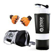 Snipper Gym Bag Combo Set Enclosed Bodybuilding Duffle Gym Bag For Men and Women For Fitness - BagSize 45cm x 22cm x 22cm Black Color, Spider Shaker White and Leather Gym Gloves With Wrist Support- Orange Color.