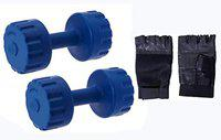 StarX 3 Kg Pair PVC Dumbbells with Leather Gym Gloves