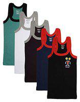 DORA Boys Cotton Cute Rib Vest Style 1509 (Colors May Vary) (Pack of 5) (55 cm)