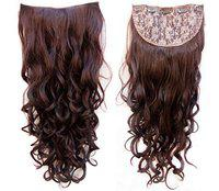 Foreign Holics Imported 5 Clips Curly Feel Like Real Hairs Extension for Women and Girls, 32 Inch (Maroon, Color 4)