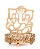 Heaven Decor Iron Divine Shadow Ganesh Tealight Candle Holder, Pack of 1
