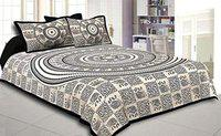 BS EXPORTS Black & White Double Bedsheets with 2 Pillow Covers (Black-5)