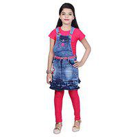 KBKIDSWEAR Girl's Cotton Top and Denim Skirt with Legging Set Pink