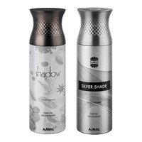 Ajmal Shadow Homme & Silver Shade Deodorant Spray For Men 200ml each (Pack of 2, 400ml) + 2 Parfum Testers Free
