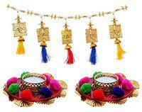 Saugat Traders Combo of Toran for Door Latest-Tea Light Candle Holders-Fancy Bandarwal for Home Decor-Main Door-Wedding-Temple-Inauguration Parties-Candles for Decoration-Multi-Color- 3.3 Feet