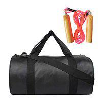 Hipkoo Leather Bag with Wood Skipping Rope (Adjustable) Gym & Fitness Kit