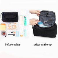 CONNECTWIDE Pro-traveller Hanging Toiletry Bag Travel Case for Man or Woman with Hanging Hook Organizer Accessories Organizer Accessories, Shampoo, Cosmetic, Personal Items, Healthcare Bag (Black)