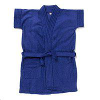 Sand Dune - Dark Blue Color Kids Bathrobe for Baby Girls - 100% Terry Cotton - Half Sleeves, Knee Length, Pocket with Waist Belt - Children Bath Robe for Age Group Between 1 to 2 Years