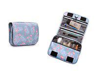 STRIPES Flamingo Print Nylon Multicolour Cosmetic Bag with Hanging Hook Waterproof Travel Kit Toiletry Bag Bathroom Organizer for Men and Women