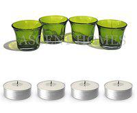 Ascent Homes Green Glass Candle Upto 5 Hour Burn time - Set of 4
