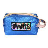 STRIPES Blue Color Cosmetic Bag Toiletries Make up Pouch