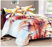 AJS Living Bedsheets with 2 Pillow Cover for Printed Double Bed, Bed Sheet for Home, Multi Design with Soft Cotton Fabric, 250 TC Multicolor Size 110 X 110 Inch