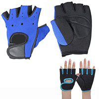 KALOPSIA INDUSTRIES Gym Workout Exercise Sport Cycling Fitness Half Finger Non-Slip Palm Gloves Guard Hand Protector Anti Skid Rock Climbing Men and Woman Gym & Fitness Gloves Blue Set of 2