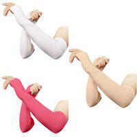 RRC Thumbhole Arm Sleeves - White,Pink and Skin (Pack of 3) Combo