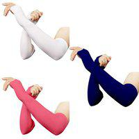 RRC Thumbhole Arm Sleeves - White,Pink and Navyblue (Pack of 3) Combo