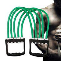 CSU 5 Levels - Latex Bands Chest Expander with Detachable Bands-Strength Training Equipment-Easy and Convenient to Use,Workout at Home,Gym,Office-Build Strong Chest,Arms,Detroit Anywhere (Green)