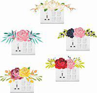 Decor kafe Flowers for Switch Board Stickers (Set of 5)
