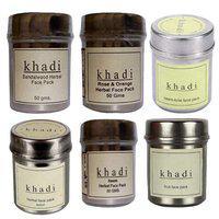 Khadi Herbal Face pack Combo (Sandalwood, Rose & Orange, Neem-Tulsi, Lemon, Neem, Fruit) 50gms Pack of 6