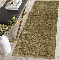 Urban Home Polyester Soft Indoor Modern Shag Area Rug Carpet with Feather Touch for Dining Room, Home Bedroom, (Beige Colour) (22 X 72)
