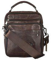 Bulchee Premium Genuine Leather Cross Body Sling Bag Unisex and Ideal for Travelling | Ideal for Travel and to Store Quick Access Belongings | Brown Colour | TMHBLD5115.2-18