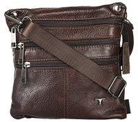 Bulchee Premium Genuine Leather Cross Body Mini Sling Bag Unisex and Ideal for Travelling | Ideal for Travel and to Store Quick Access Belongings | Brown Colour | TMHBL076.2-18